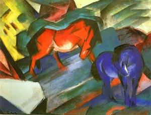 Franz Marc, Caballos rojo y azul. 1911.