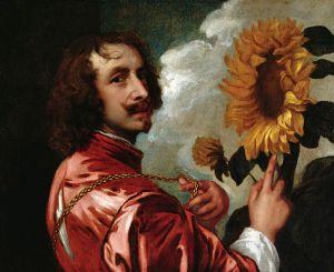 Anton van Dyck, Autorretrato con girasol. 1633.
