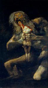 Francisco de Goya, Saturno devorando a su hijo. 1819-1823.