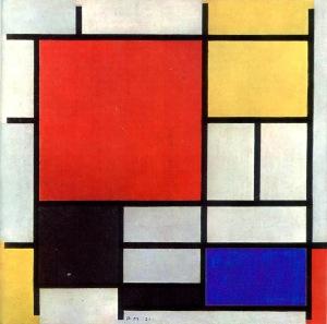 Piet Mondrian, Composición en rojo, amarillo y azul. 1921.