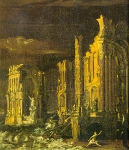 Monsù Desiderio, La caída de la Atlántida. s. XVII.