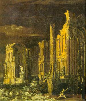 Monsù Desiderio, La caída de la Atlántida. s. XVII