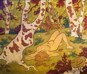 Paul Ranson, Nude Laying on Her Back in a Clearing. 1893.
