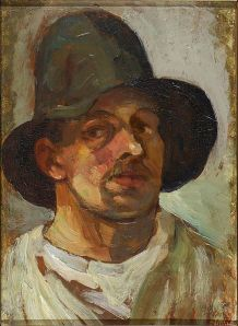Theo van Doesburg, Selfportrait with hat. 1906.