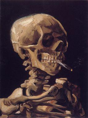 Vincent van Gogh, Cráneo fumando un cigarrillo.1885.