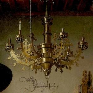 Jan van Eyck, El matrimonio Alnorfini. 1434. Detalle lámpara.