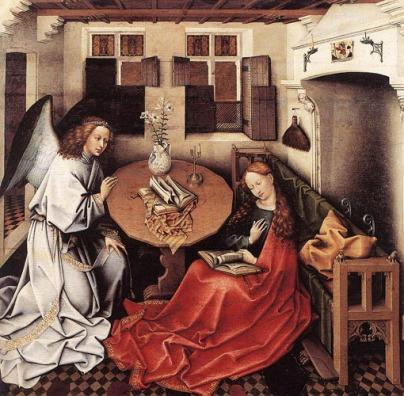 El Maestro de Flémalle, Anunciación. s. XV.