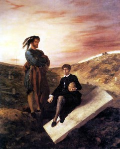Eugène Delacroix, Hamlet und Horatio auf dem Friedhof. 1835.