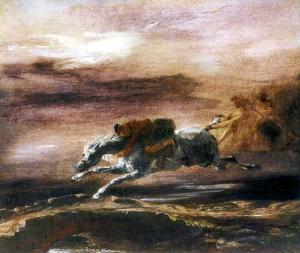 Eugène Delacroix, Tam o´Shanter es perseguido por las brujas. 1825.