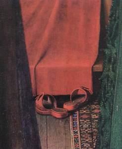 Jan van Eyck, El matrimonio Arnolfini 1434. Detalle cama y zuecos.