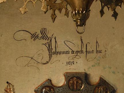 Jan van Eyck, El matrimonio Arnolfini 1434. Detalle firma.