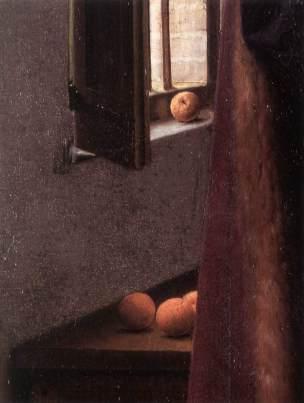 Jan van Eyck, El matrimonio Arnolfini 1434. Detalle naranjas.