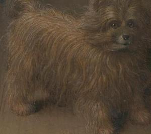 Jan van Eyck, El matrimonio Arnolfini 1434. Detalle perro.