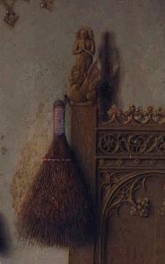 Jan van Eyck, El matrimonio Arnolfini 1434. Detalle Santa Margarita y Santa Marta.