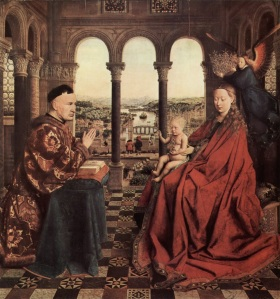 Jan van Eyck, La virgen del Canciller Rolin. c. 1435.