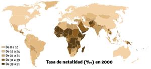 Mapa tasa de natalidad para el 2000