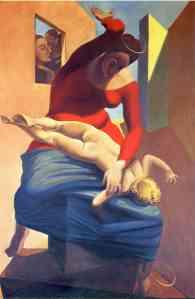 Max Ernst, La virgen dando una zurra al niño Jesús. 1926.
