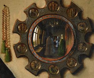 Jan van Eyck, El matrimonio Arnolfini 1434. Detalle espejo.
