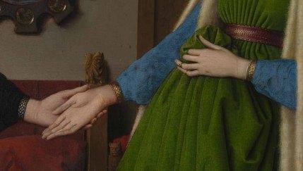 Jan van Eyck, El matrimonio Arnolfini 1434. Detalle gárgola.