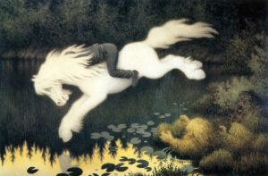 Gutt på hvit hest Kelpie