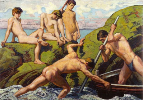Ludwig von Hofmann, Naked Boatmen and Youths.