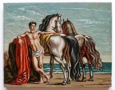 Giorgio de Chirico, Palfreniere con due cavali, 1937