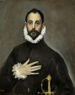 El Greco, el caballero de mano en el pecho